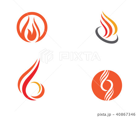 fire flame logo template vectorのイラスト素材 40867346 pixta