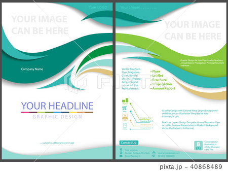 flyer template with waved stripesのイラスト素材 40868489 pixta
