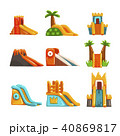 Inflatable slides set, summer amusement park bouncy equipment vector Illustrations on a white 40869817