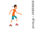 Teen boy rolling on roller blades, active healthy lifestyle concept cartoon vector Illustration on a 40869848