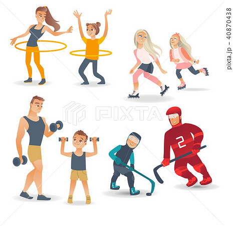 Vector flat family characters doing sports set 40870438