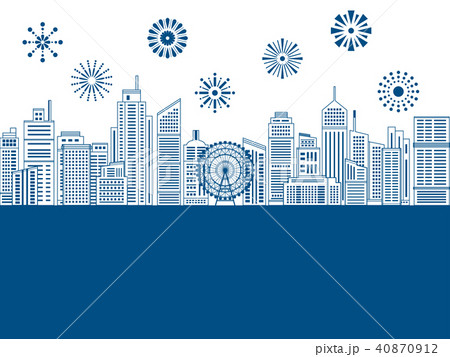 花火と線画のビル街の風景 40870912