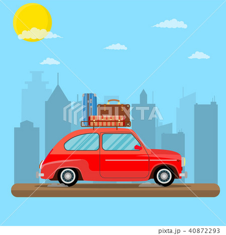 retro travel van car with bag on roof. 40872293
