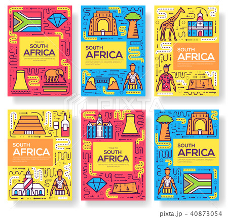 South Africa vector brochure cards thin line set 40873054