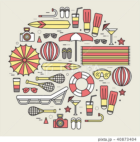 Summer vacation circle concept in thin lines style 40873404