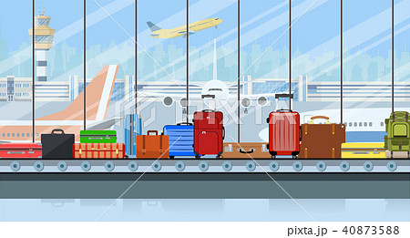 Airport conveyor belt with passenger luggage bags 40873588