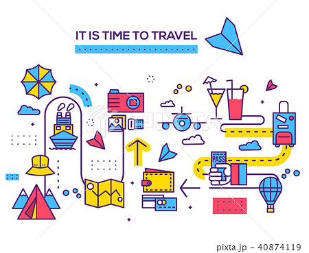 Travel infographic icons items design. Vacation  40874119