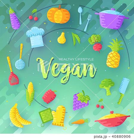 Vegan vector brochure cards set. Vegetable 40880906