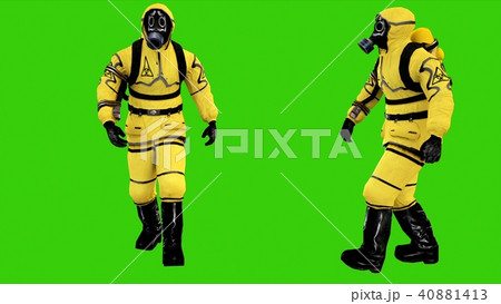 Man in protective hazmat walking on green screen background. 3D rendering 40881413