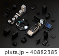 黒背景にIoT文字に配置されたスマート家電と電気自動車。暮らしにあるモノのインタネットコンセプト 40882385