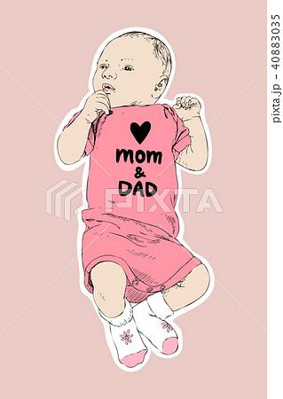 sketch of happy baby girl hand drawn vector line art illustration