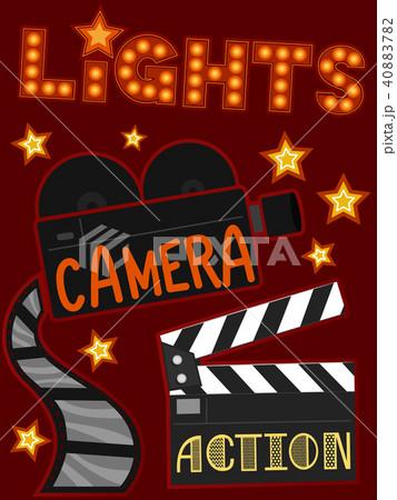 lights camera action illustrationのイラスト素材 40883782 pixta