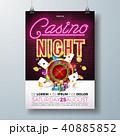 Vector Casino night flyer illustration with gambling design elements and shiny neon light lettering 40885852