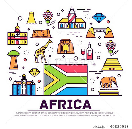 set of south africa country ornament travel trip のイラスト素材