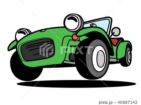 ライトウェイトスポーツカー 緑色 自動車イラスト 40887142