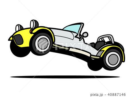 ライトウェイトスポーツカー 黄色ツートン ジャンプ 自動車イラスト 40887146