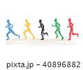 クレヨンで描いたマラソン選手達のイラスト 40896882
