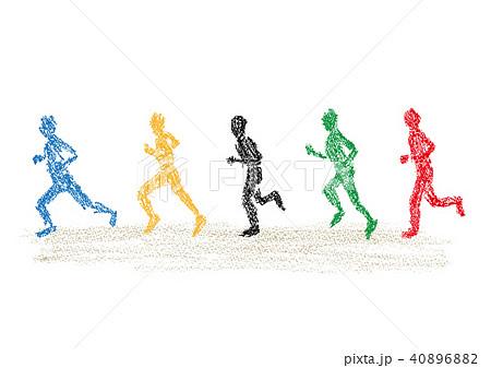 クレヨンで描いたマラソン選手達のイラストのイラスト素材 40896882