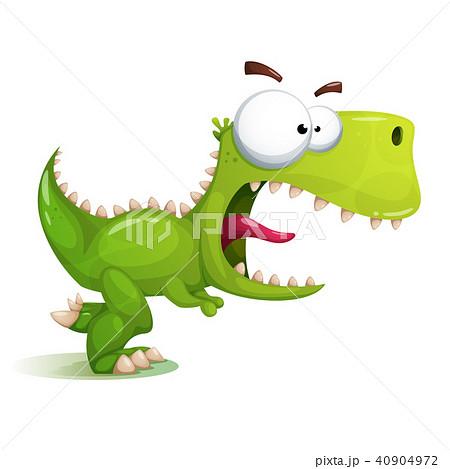 Funny Cute Crazy Dinosaur Illustrationのイラスト素材