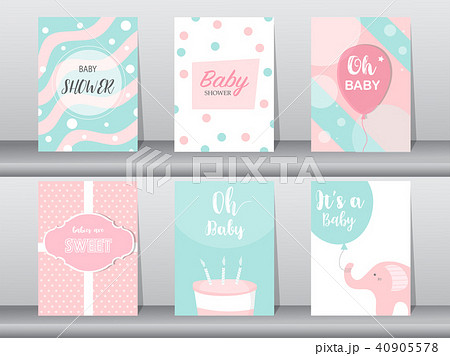 Set of baby shower invitations cards, poster 40905578