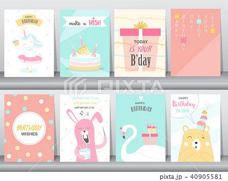 set of birthday invitations cards posterのイラスト素材 40905581