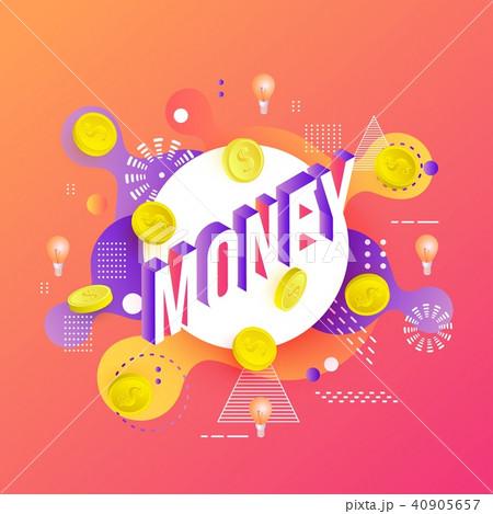 vector money vibrant gradient poster templateのイラスト素材