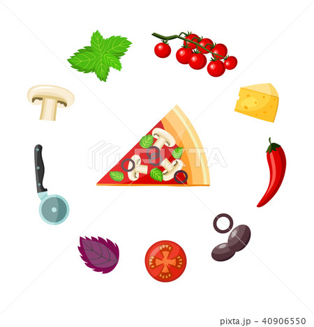 Pizza and ingredients set - colorful piece of ready-to-eat vegetarian pizza with vegetables, cheese 40906550