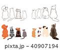 横向きに見上げる小型犬と猫のボーダーセット2 40907194