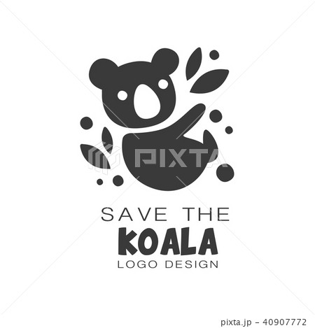 Save the koala logo design, protection of wild animal black and white sign vector Illustrations on a 40907772