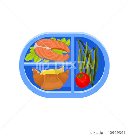 Plastic oval tray with salmon fish on lettuce leaf, fresh croissants, green asparagus and tomato 40909361