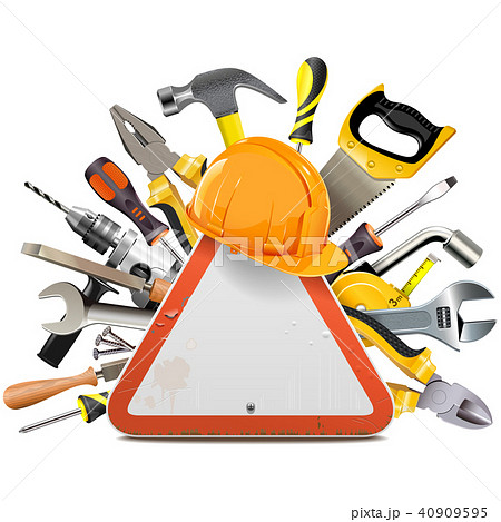 Vector Road Sign with Tools 40909595