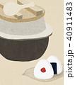 背景-和紙-羽釜-おむすび 40911483