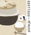 背景-和紙-羽釜-白飯-おむすび 40911489