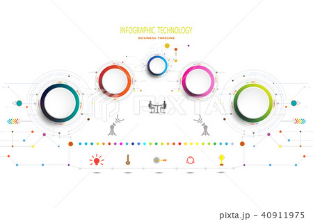 infographic template timeline technology digital のイラスト素材