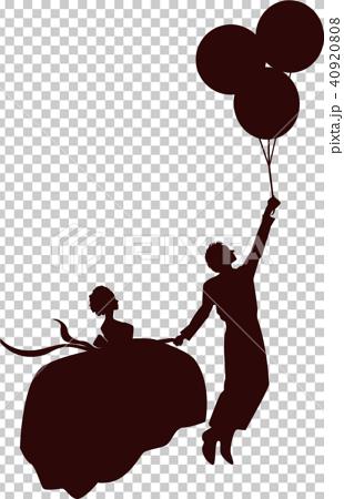 風船で空飛ぶカップルのシルエットのイラスト素材 [40920808