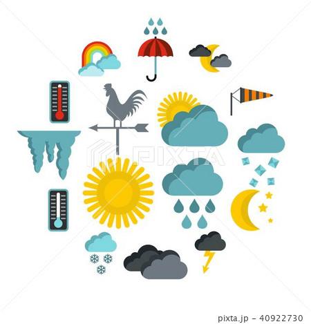 Weather icons set, flat style 40922730