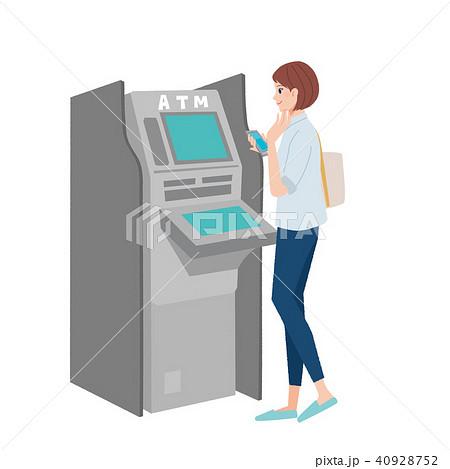 ATM 操作する女性 イラスト 40928752