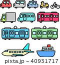 乗り物の線画イラストセット 40931717