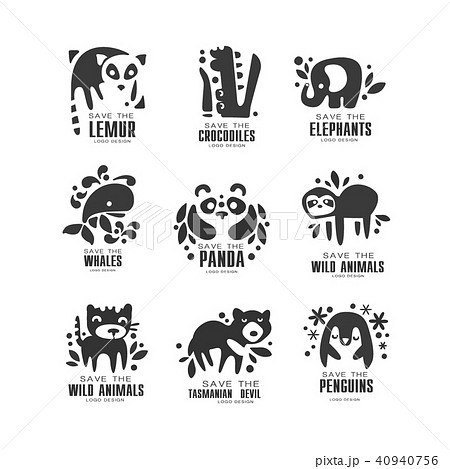 save wild animal logo design set protection of african animals
