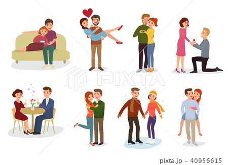 Couple in love vector lovers characters in lovely relationships together on loving date Valentines 40956615