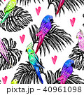 Seamless pattern with bright painted parrots  40961098