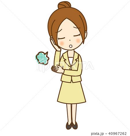 お団子ヘアの女性目をつむりため息 スーツのイラスト素材 40967262 Pixta