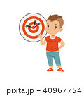 Cute boy playing darts, kids physical activity concept vector Illustration on a white background 40967754