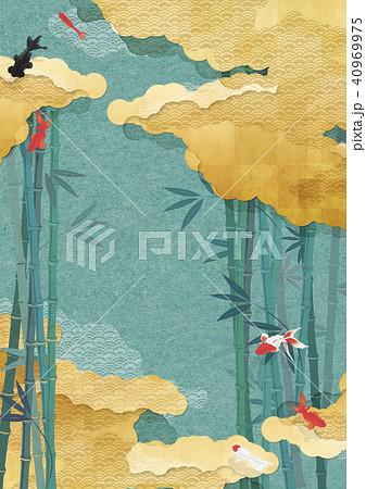 金の雲海 渋茶の色 竹林を優雅に泳ぐ金魚(和紙の風合い) 40969975