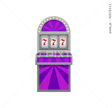 Slot machine with lucky symbol 777. Winner sign. Casino and entertainment theme. Flat vector element 40970311