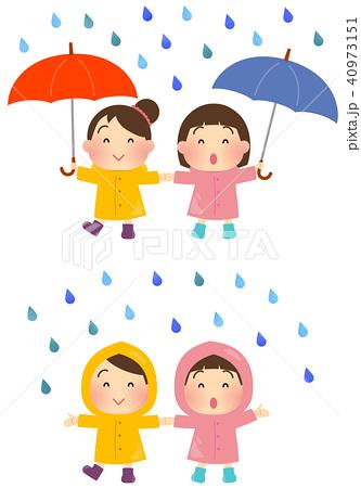 雨と子どもたちのイラスト【傘・レインコート】 40973151