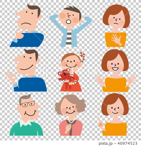 スマートB家族3世代6人の不安と安心,表情セット(男の子服/水色) 40974523
