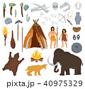 Primitive people vector mammoth and ancient caveman character in stone age cave illustration 40975329