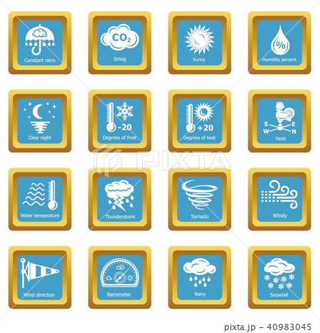Weater icons set sapphirine square vector 40983045