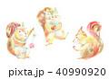 リス 水彩 手描きのイラスト 40990920
